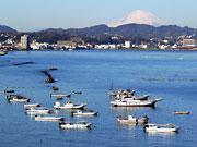 走水海岸からの富士